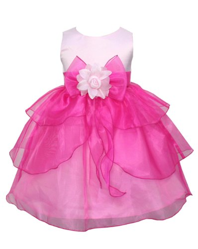 Go2Victoria Hot Pink Pageant Party Infant Girl Dress 2T (F1216B-2T)
