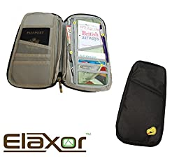 ElaxorTM Compact Waterproof Multi-Functional Zippered Passport, cards, cash and Travel Document Organizer Wallet Case (Black)