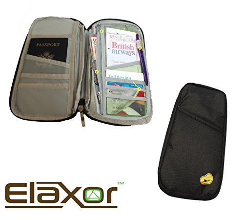 ElaxorTM Compact Waterproof Multi-Functional Zippered Passport, cards, cash and Travel Document Organizer Wallet Case (Black) (Deluxe Coupon Organizer Ii compare prices)