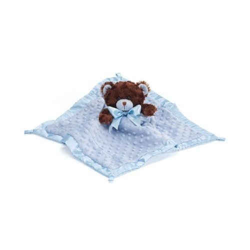 Blue Velboa Security Baby Blanket with Plush Teddy Bear Adorable Nursery Decor