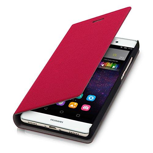 kwmobile Cover Flip Case per Huawei P8 Lite - Custodia protettiva richiudibile in stile flip cover in rosso
