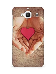 Amez designer printed 3d premium high quality back case cover for Xiaomi Redmi 2 (Pink Heart In Hands)