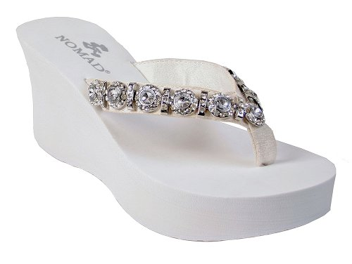 Nomad Women'S Sugarland Wedge Sandal,White,6 M Us front-380375