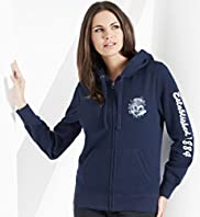 Cotton Blend Zip Through Hooded Top