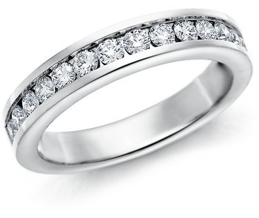 G/VS 0.60Carat Half Eternity Diamond Ring in 3.0MM,950 Platinum Size L