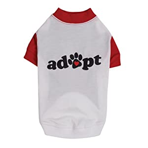 Casual Canine Polyester/Cotton Adopt Print Raglan Dog Tee, XX-Small, 8-Inch, White/Red