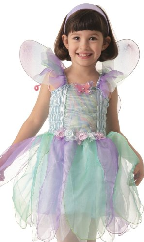 Aqua Fairy Princess Dress Costume Beautifully Decorated with Rainbow Wings