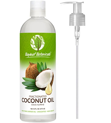 Best Fractionated Coconut Oil Liquid 16oz with BONUS E-BOOK+PUMP Is Perfect for Blending with Essential Oils, Sensual Massages, Natural Intimate Lubricant, Aromatherapy - Ultimate Natural Moisturizer for Radiant Hair, Skin, Face - 100% Pure Therapeutic Gr