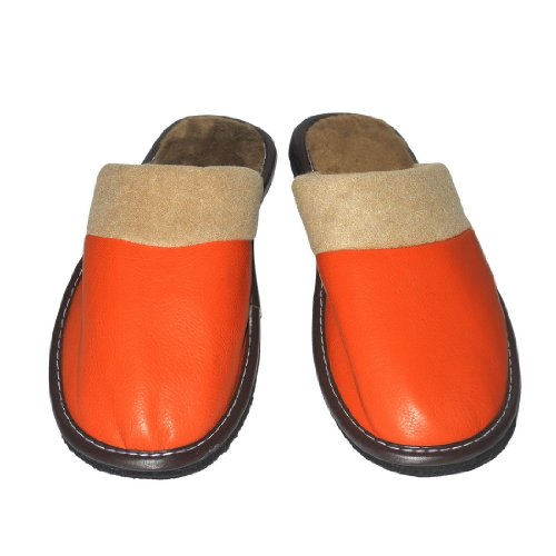 Image of Womens Open Back Lounge / House Slippers with Leather Toe and Suede Sole - Orange (B006JXZPWU)