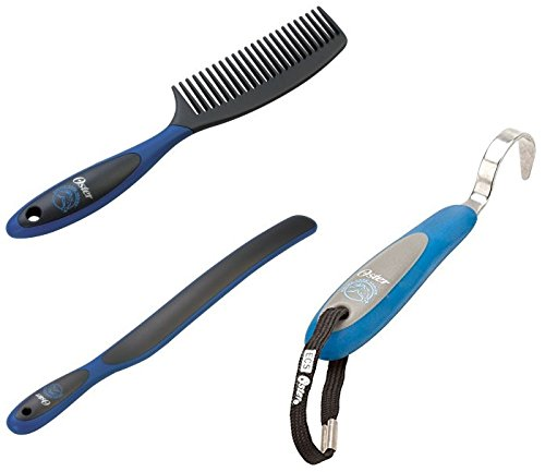 Oster Grooming Bundle - Blue (1-Mane and Tail Comb 1-Sweat Scraper, and 1-Hoof Pic) (Oster Mane And Tail Brush compare prices)