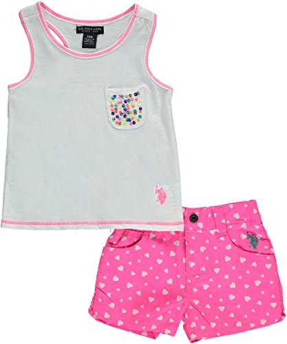 U.S. Polo Assn. Baby 2 Piece Sequined Pocket Racer Back Tank and Twill Short, White, 18 Months