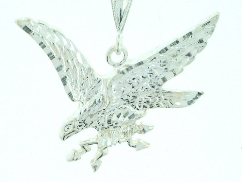 american eagle flying. Diamond-cut Sterling-silver Flying American Eagle Pendant-necklace