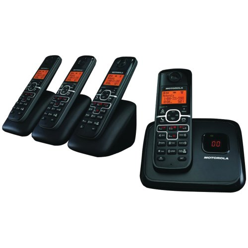 Motorola L704M DECT 6 Enhanced Cordless Phone with 4 Handsets and Digital Answering System