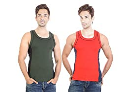 Bodysense Green & Red Men's Cotton Gym Vest ( Pack of 2 )