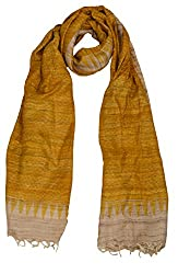 Sumona and Me Women's Silk Dupatta (Yellow and Off-White)