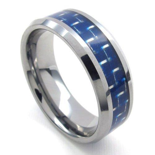 (キチシュウ)Aooazジュエリー メンズタングステンリング指輪 シンプルデザイン ブルーとシルバー 高品質のアクセサリー 日本サイズ28号(USサイズ13号)