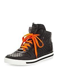 Versace Men's Embossed Leather High-Top Sneaker, Black