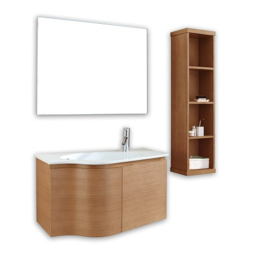 Virtu USA ES-1236-CH Roselle 36-Inch Wall-Mounted Single Sink Bathroom Vanity with Mirror, White Ceramic Countertop, Chestnut Finish