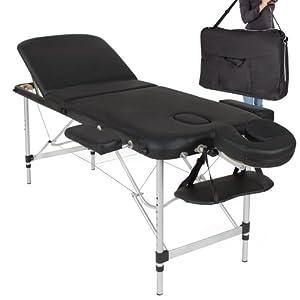 tectake table de massage pliante aluminium cosmetique lit de massage portable noir housse de. Black Bedroom Furniture Sets. Home Design Ideas