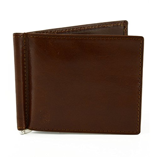Portafogli In Pelle Con Clip Banconote Colore Marrone - Pelletteria Toscana Made In Italy - Accessori