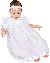 Clarice 18 Month Satin and Organza Christening Baptism Blessing Gown for Girls, Made in USA