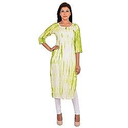 Shree Ram Impex Exclusive Jaipuri Traditional Tie n Dye Cotton Kurti - Green