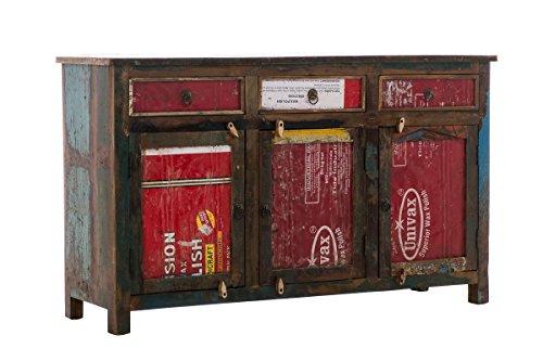 CLP-exklusives-Sideboard-DESNA-aus-massivem-recyceltem-Teakholz-150-x-45-cm-Hhe-90-cm-bunt