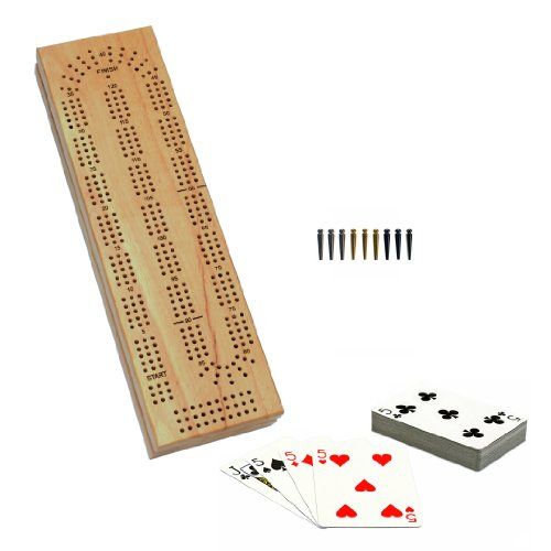 WE Games Cabinet Cribbage Set - Solid Wood Continuous 3 Track Board with Easy Grip Pegs, Cards and Storage Area