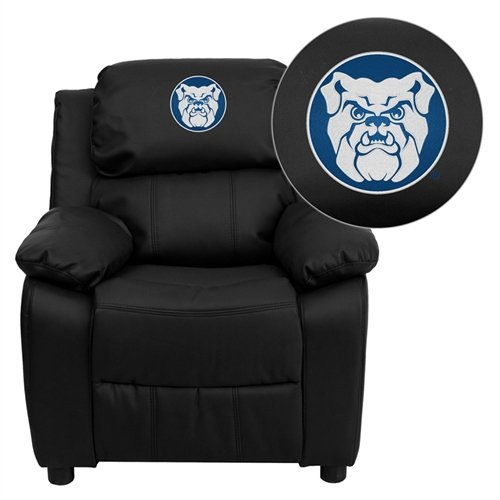 Flash Furniture Butler University Bulldogs Embroidered Black Leather Kids Recliner with Storage Arms