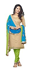 Radhika Shopping Women's Cotton Unstitched Dress Material (lucky-003_Golden_Free Size)