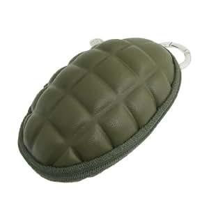 Army Green Grenade Shape Zipper Closure Key Bag Wallet Holder w Swivel Hook