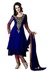 2016's New Arriva Look N Buy Women's royal blue Georgette Un-Stitched dress Material (O180_blue_free size)