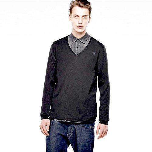 G-star felpa da uomo maglia maglione lavorato a maglia fine Knit Meeflic V-collo nero taglia M, Nero (nero), L
