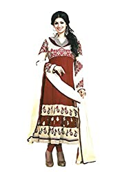 Sabrang Faux Georgette Semi Stitched Embroidered Salwar Suit