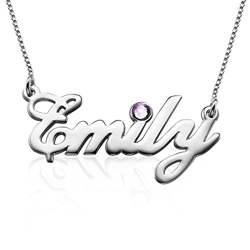 Sterling Silver Personalized Name Necklace with Swarovski Birthstone - Custom Made with Any Name! (Custom Jewelry Necklace compare prices)
