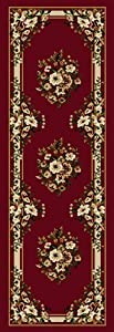 """1'9"""" x 7'2"""" Runner Oscar Isberian Rugs Rug Red Color Machine Made Turkey """"Optimum Collection"""""""