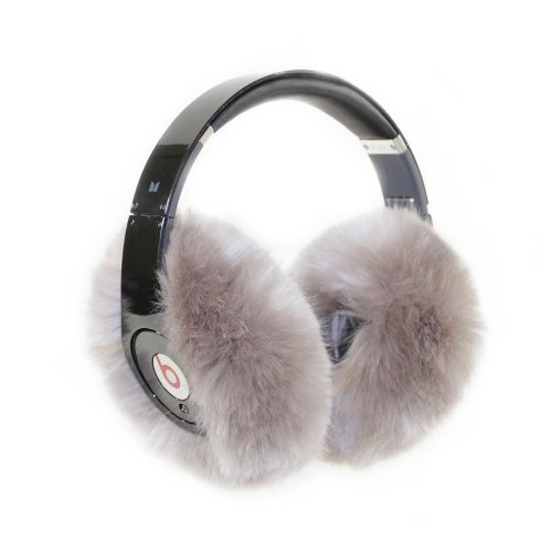 Earmuffies - Premium Faux Fur Earmuff Covers For Headphones - Large Silver (Fits Beats Studio/Executive And Other Popular Headphones)