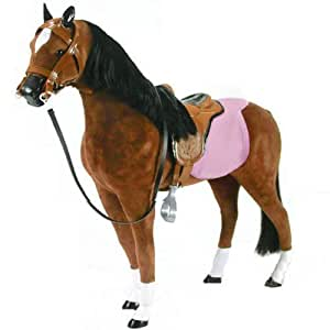 Doll Horse 19 Inch Fabric Horse & Saddle, Doll Furniture Fits 18 Inch Dolls Like American Girl