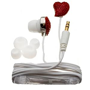 Nemo Digital NDF10112RE Crystal Pave Twisted Heart Earbud (Red with White Wires)
