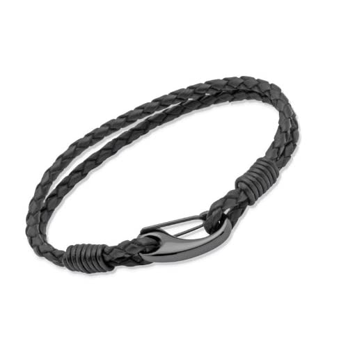Unique-Men-Black-Leather-Bracelet-with-Steel-Ip-Black-Shrimp-Clasp-of-19cm-B86BL