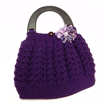 Crochet Bag Bamboo Handles Pattern : Amazon.com: Shell Pattern Crochet Bag with Handle Top ...