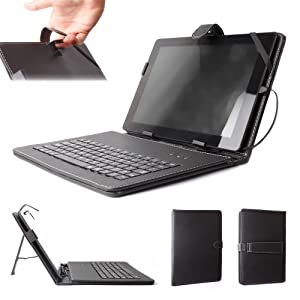 DURAGADGET Protective Leather Look Case With Micro USB Keyboard + FREE Stylus Compatible With Archos 101 XS, Archos 10.1 Internet Tablet, Archos Gen 10 G10 Gen10 101 XS Turbo (ARM Cortex A9 1.5GHz, Android 4), 101 G9 501870 Gen9 (RAM 512MB ) & Arnova 10 i