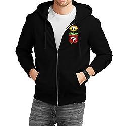 Fanideaz Men's Cotton Mario Pocket Plants Vs Zombies Zipper Sweatshirt with Hood_Black_S