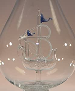 Blown Glass Tear Drop Bottle with Sail Boat, Decorative Bottle, Wine Bottle, Decanter