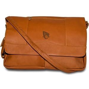 NBA New Jersey Nets Tan Leather Laptop Messenger Bag by Pangea Brands