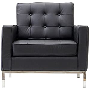 LexMod Florence Style Armchair in Black Genuine Leather
