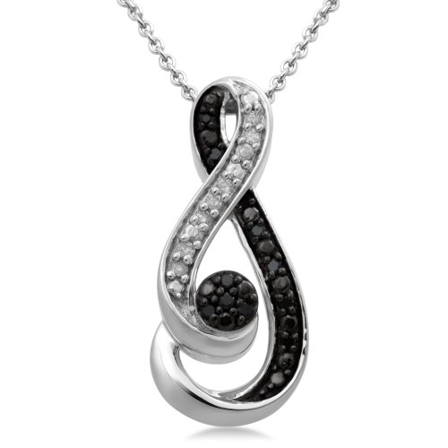 Sterling Silver Black and White Diamond Pendant Necklace (1/6 Cttw, I-J Color, I3 Clarity), 18