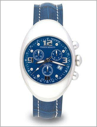 Franchi Menotti Mens Blue Leather Strap Stainless Steel Chrono watch Blue Dial