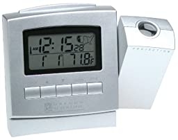Oregon Scientific RM328PA Silver ExactSet Projection Clock with Cable Free Thermometer