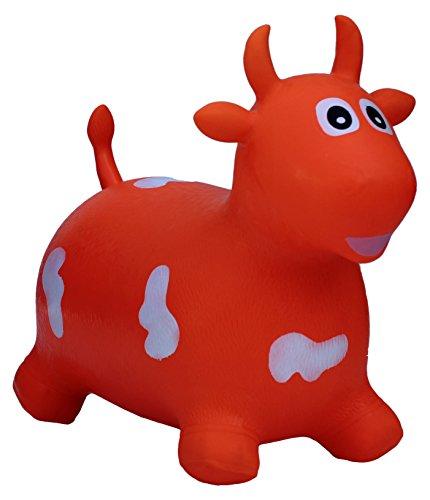 Happy Giampy HG203 - Mucca Gonfiabile Cavalcabile per Bambini, Colore Arancio